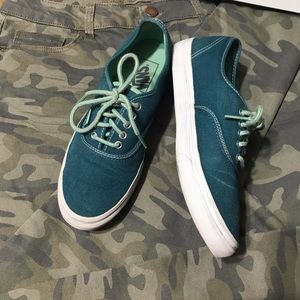 Vans Shoes - Vans canvas lace up teal green sneakers, s.7.5 men